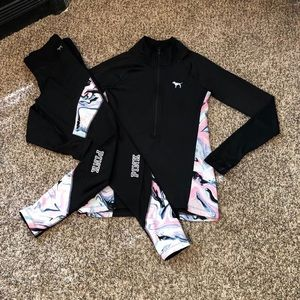 Vs Pink Ultimate/Reversible Leggings Set LIKE NEW
